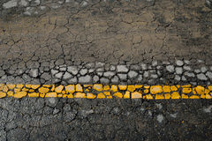 Yellow line road marking Royalty Free Stock Image