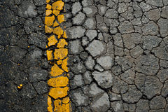 Yellow line road marking Royalty Free Stock Photo