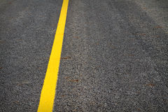 Yellow line on tarmac / asphalt Royalty Free Stock Images