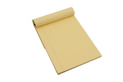 Yellow lined notepad Royalty Free Stock Images
