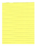 Yellow lined paper isolated Royalty Free Stock Photo