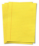 Yellow lined paper isolated on white background Stock Images