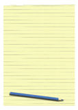 Yellow lined paper and pencil. Isolated on white background Royalty Free Stock Images