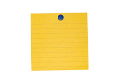 Yellow lined post a note. An isolated yellow sticky back note ready for user to fill in text. Includes clipping path Stock Photos