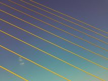 Yellow lines and blue sky. Abstract background royalty free stock photo