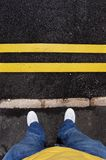 Yellow lines and Feet Royalty Free Stock Image