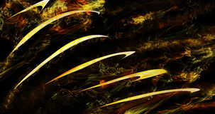 Yellow Lines With Various Flame Effects On Dark Background. Abstract Yellow Marks Surrounded By Flame Effects On Dark Background Stock Photography