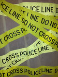 Yellow lines warning by police. Police supplies on the way royalty free stock image
