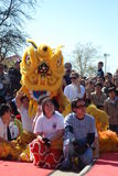 A yellow lion in Chinatown Royalty Free Stock Images
