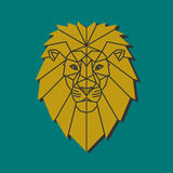 Yellow lion head. Polygonal emblem middle age lion. Low poly character. Lion head volume vector logo. Animal design template elements for your corporate identity Stock Images