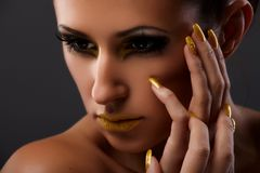 Yellow lips Stock Images