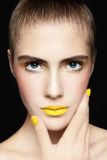 Yellow lipstick Royalty Free Stock Photos