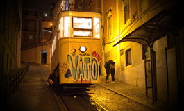 Yellow Lisbon tram. Night scene with the Lisbon yellow tram Stock Image