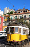 Yellow Lisbon tram, Portugal Stock Photos