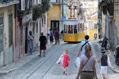 Yellow Lisbon tram, Portugal Stock Photography