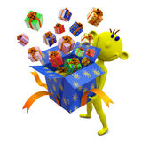 Yellow little man holds box with gifts Stock Photos