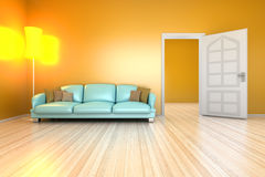 Yellow living room Royalty Free Stock Image