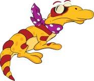 Yellow lizard. Cartoon royalty free illustration