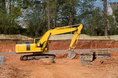 Yellow Loader by Excavation Stock Photography