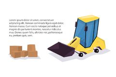 Yellow loader. Funny cartoon style. Stock Photography