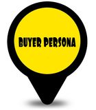 Yellow location pointer design with BUYER PERSONA text message. Illustration Stock Image