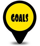Yellow location pointer design with GOALS text message. Illustration Stock Photos