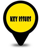 Yellow location pointer design with KEY ISSUES text message. Illustration Royalty Free Stock Images