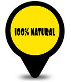 Yellow location pointer design with 100 PERCENT NATURAL text mes. Sage. Illustration Stock Photos