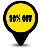 Yellow location pointer design with 80 PERCENT OFF text message. Illustration Royalty Free Stock Images