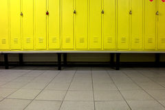 Yellow locker room Stock Images
