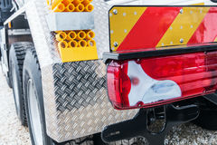 Yellow locking block and tail lights of the truck Stock Photo