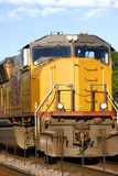 Yellow Locomotive. Front of a yellow diesel/electric locomotive Stock Photos