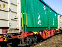 Cargo boxes on the train tracks. Metal Cargo boxes on the train tracks Stock Photography