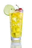Yellow long Cocktail with lemon and cherry. On  white Stock Photo