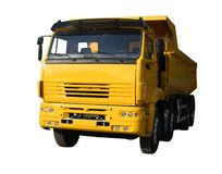 Yellow lorry. Kamaz isolated on white stock photos