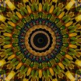 Yellow lotus blossom. Mandala flower, kaleidoscope pattern Stock Images