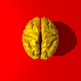 Yellow low poly brain illustration. On red background Stock Images