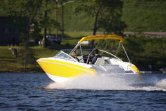 Yellow Luxury Boat. On Lake Royalty Free Stock Photos