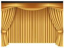 Yellow luxury curtains and draperies on white background stock images