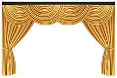 Yellow luxury curtains and draperies on white background royalty free stock photo