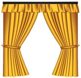 Yellow luxury curtains and draperies on white background stock photos