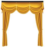Yellow luxury curtains and draperies on white background stock image