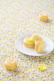 Yellow Macarons on a white plate Royalty Free Stock Photo