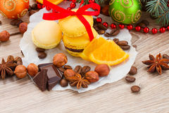 Yellow macaroons with christmas  decorations Stock Photography