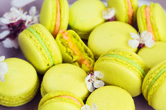 Yellow macaroons on plate, selective focus Stock Photo