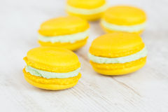 Yellow macaroons Royalty Free Stock Images