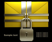 Yellow mail and lock on black Stock Photography