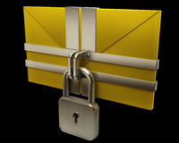 Yellow mail and lock on black background Royalty Free Stock Photography