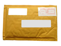 Free Yellow Mail Package From Recycling Paper Isolated On White Background, Modern Post Service Diversity, Stock Images - 10312144