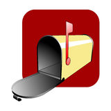 Yellow Mailbox. Vector illustration of a cheerful yellow mailbox with the flag up against a red background stock illustration